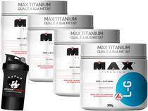 Kit 4x L-Glutamina 300g + Coqueteleira - Max Titanium -