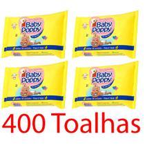kit 4x toalhas lenços umedecidos baby poppy premium mais encorpada para uso de toda a família 100un - Ákua
