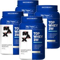 Kit 4x Top Whey Protein 3w Performance Baunilha 900g - Max Titanium