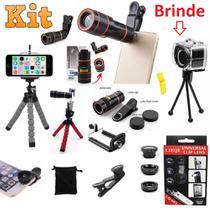 Kit 4x1 Super Luneta Celular Telescópica Zoom Hd + Kit Lentes 3x1 Fisheye + Mini Tripé Flexível Câmera Celular + Brinde - Leffa Shop