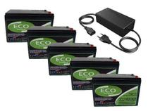 Kit 5 Bateria 12v 15ah Bike Eletrica Carregador 60v - Eco power