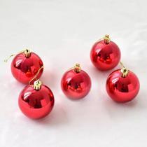 Kit 5 Bolas Pequena Decoração Natal Vermelha Enfeite Árvore - Imp