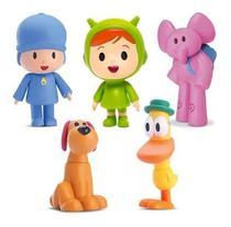 Kit 5 Bonecos Vinil Turma Do Pocoyo Pato Elly Loula Nina Kit - Cardoso Toys