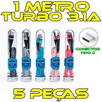 Kit 5 Cabos Tipo C no tubete REFORÇADO original INOVA 3.1A -