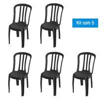 Kit 5 Cadeiras de Plástico Bistrô Pretas - Central De Embalagens