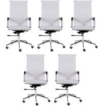 Kit 5 Cadeiras Escritório Eames Presidente Esteirinha Branca - Soffi