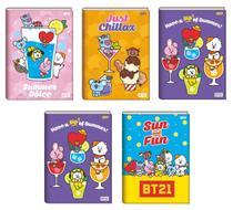 Kit 5 Cadernos Bts Bt21 Brochura Pequeno KPop CD 80fls - Jandaia -