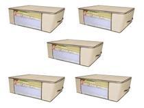 Kit 5 Caixa Organizadora Capa Saco Closet Roupa Edredom Flexível - Tuca Home