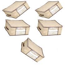 Kit 5 Caixa Organizadora Flexível Multiuso Bege com Borda Reforçada Marrom 44x44x19,5 cm Kehome -