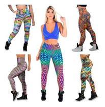 Kit 5 Calça Legging Suplex Feminina Estampada Moda Fitness - Rt13