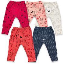 Kit 5 calças bordadas estampada vira pé bebê menina atacado - Loja Bebê Alegre