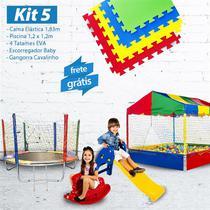 KIT 5 - Cama Elástica 1,83m + Esc. Baby + Piscina 1,20m e 1.000 Bolinhas + Cavalino + 4 Tatames EVA - Lacuca Brinquedos