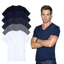 06c6e53fec Kit 5 Camisetas Gola V Masculina Lisa 100 Algodão Básica - Newbeat