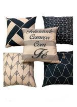 Kit 5 Capas De Almofadas Decorativa Estampas Digitais 45x45 - Pra Casa