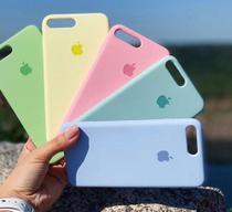 Kit 5 capas IPhone 7plus /8 plus ,Verde Claro ,amarelo  ,Rosa Bebê,Verde água e  azul claro.. - Guall Cases