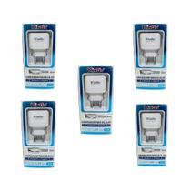 Kit 5 Carregadores USB V8 Kingo 1.2A 5V p/ Galaxy J6 Plus -