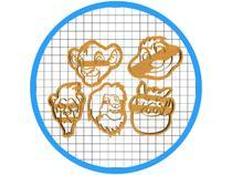 Kit 5 Cortadores de Biscoito Rei Leão Pasta Americana Guarda - ARTBOX3D