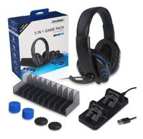 Kit 5 Em 1 Game Pack Playstation 4 Slim Pro Dock Fone Base - Dobe