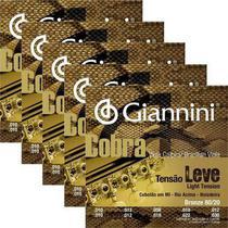 Kit 5 encordoamentos Giannini Cobra tensão leve cebolão em MI para viola -