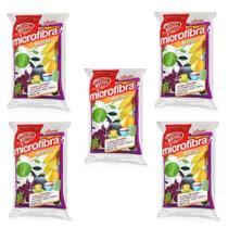 Kit 5 Esponjas Microfibra Multiuso Fruits Euro Home -