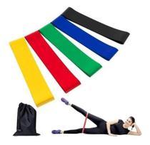Kit 5 Faixa Elástica Com Níveis De Resistência Pernas Braços Funcional Musculação Malhar Fisioterapia Pilates - elastico
