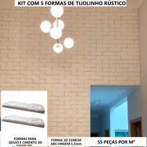 Kit 5 Forma 3d Gesso 3d Tijolinho Rústico 24x8cm Molde Gesso Ou Cimento 3d - Innove3D