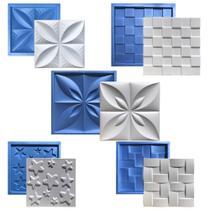 Kit 5 Formas Borracha Com Plastico Para Placas Gesso 3d - Xmoldes Formas 3D