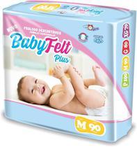 Kit 5 Fralda Descartável Baby Felt Noturna Infantil M - 90 Unidades Barato -