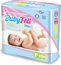 Kit 5 Fralda Descartável Baby Felt Noturna Infantil P - 100 Unidades -