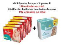 Kit 5 Fraldas Pampers Supersec + 4 Lenços Freshclean Atacado -