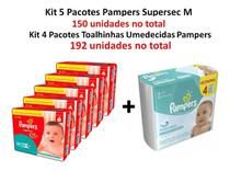 Kit 5 Fraldas Pampers Supersec M + 4 Lenços Freshclean Revenda -