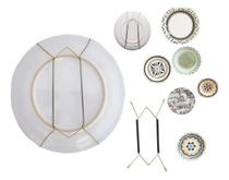 Kit 5 Gancho Arame Mola Suporte Pendurar Pratos Decorativos Parede Base Decoração Casa Cozinha -