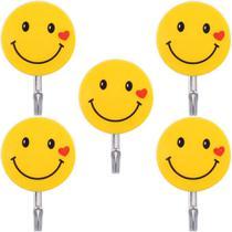 Kit 5 Ganchos Autoadesivo Para Parede Emoji Carinha Smile - Imp