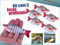 kit 5 Iscas Artificiais Articulada Lambari 6 Segmentos - M&C