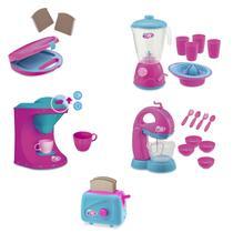 Kit 5 itens sanduicheira + torradeira + cafeteira + liquidificador + batedeira infantil le chef brinquedo criança - Usual Brinquedos