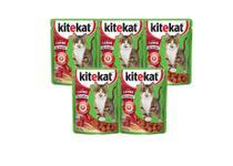 Kit 5 Kitekat Sachê Gatos Adultos Carne - 70g -