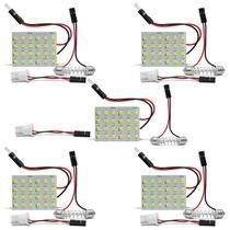 Kit 5 Lâmpadas LED Placa Pingo T10 24 Pontos Torpedo 5W 12V Luz Interna Teto e Porta-Malas - Prime