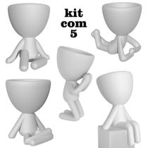Kit 5 Lindos Vasos Decorativo Branco Suculentas Planta Bbb Criativo - Marxgreg 3D