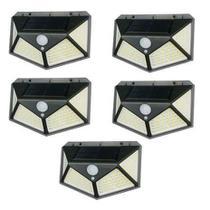 Kit 5 Luminária Energia Solar Parede 100 Led Sensor Presença 3 Funções Lampada - Economia Solar - parede solar