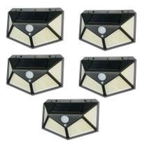 Kit 5 Luminária Energia Solar Parede 100 Led Sensor Presença 3 Funções Lampada - Economia Solar