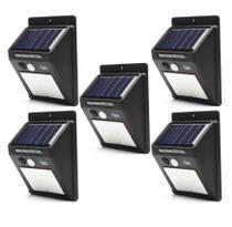 Kit 5 Luminária Solar 30 Leds Refletor Led Parede Jardim Piscina Externo Com Sensor Movimento Resistente Sol Chuva -