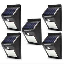 Kit 5 Luminária Solar Iluminação Jardim Exterior Parede 30 Leds - Concise Fashion Style