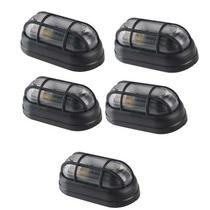 Kit 5 Luminária Tartaruga Externa Preta Com Grade E27 - OPL -