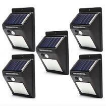 Kit 5 Luz De Parede Led Com Energia Solar iluminação Com Sensor Prova D'água Preto - solar parede