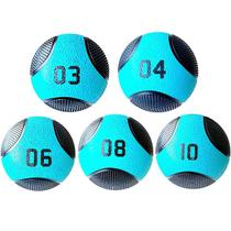 Kit 5 Medicine Ball Liveup PRO 3 4 6 8 e 10 kg Bola de Peso Treino Funcional LP8112 -