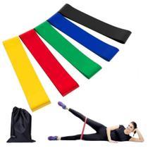 Kit 5 Mini Bands Faixa Elástica Diferentes Resistências Funcional Pilates Yoga Fitness - Fox Fit