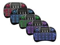 kit 5 Mini Teclado Controle Sem Fio c/ luz Para Smart tv Box Pc - Backlit