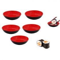 Kit 5 Mini Tigelas Redonda Molheira 70 Ml para Shoyu em Melamina Vermelho  Unicasa -