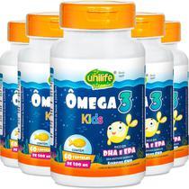 Kit 5 Ômega 3 Kids 500mg Unilife 60 Cápsulas -