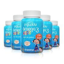 Kit 5 Ômega 3 Pro Kids Equaliv 60 cápsulas Sabor Laranja -